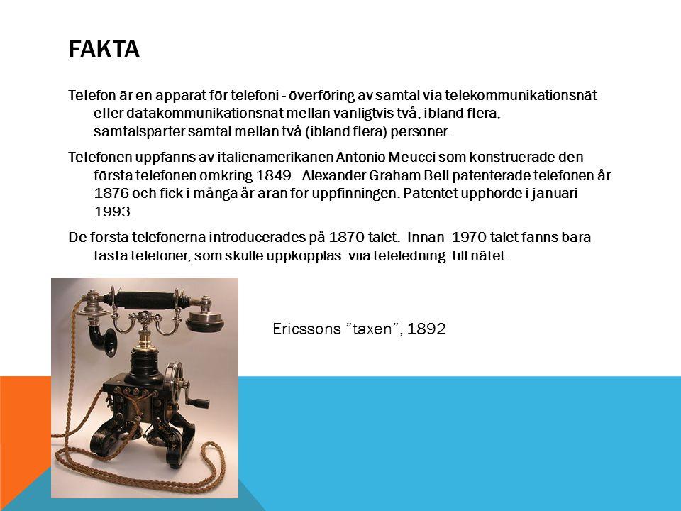 Fakta Ericssons taxen , 1892
