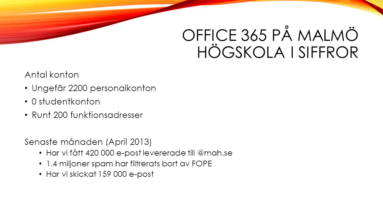 Office 365 på Malmö Högskola i Siffror