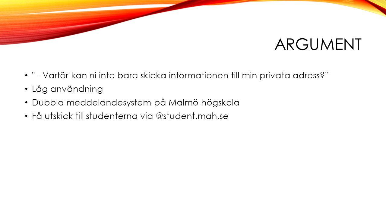 Argument - Varför kan ni inte bara skicka informationen till min privata adress Låg användning.