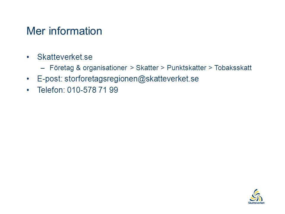 Mer information Skatteverket.se