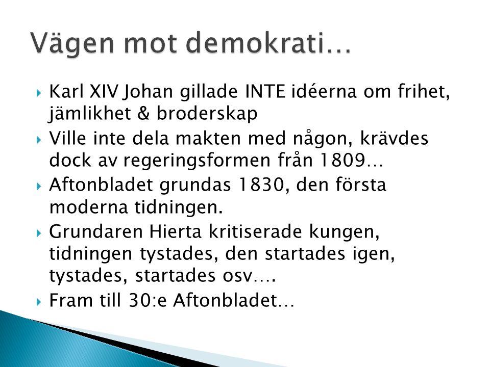 Vägen mot demokrati… Karl XIV Johan gillade INTE idéerna om frihet, jämlikhet & broderskap.