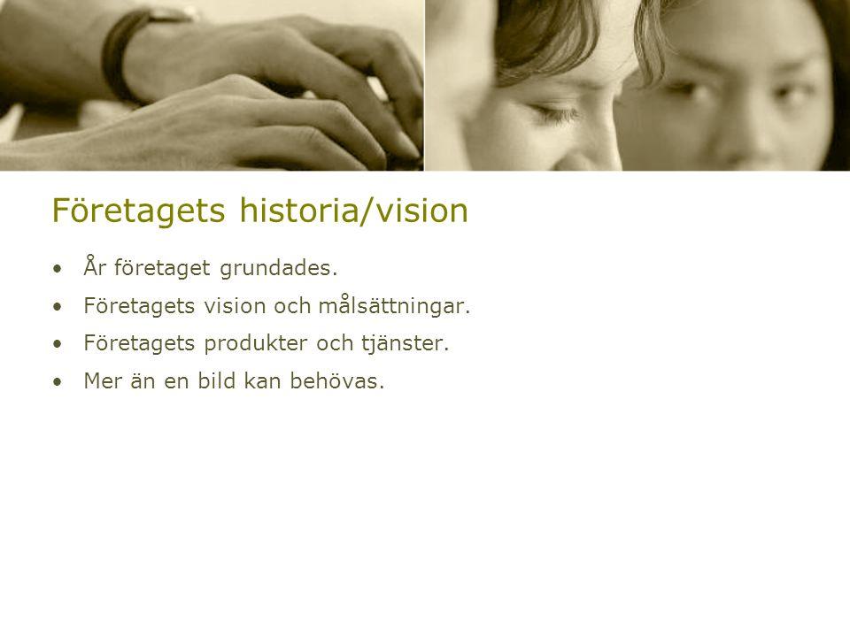 Företagets historia/vision