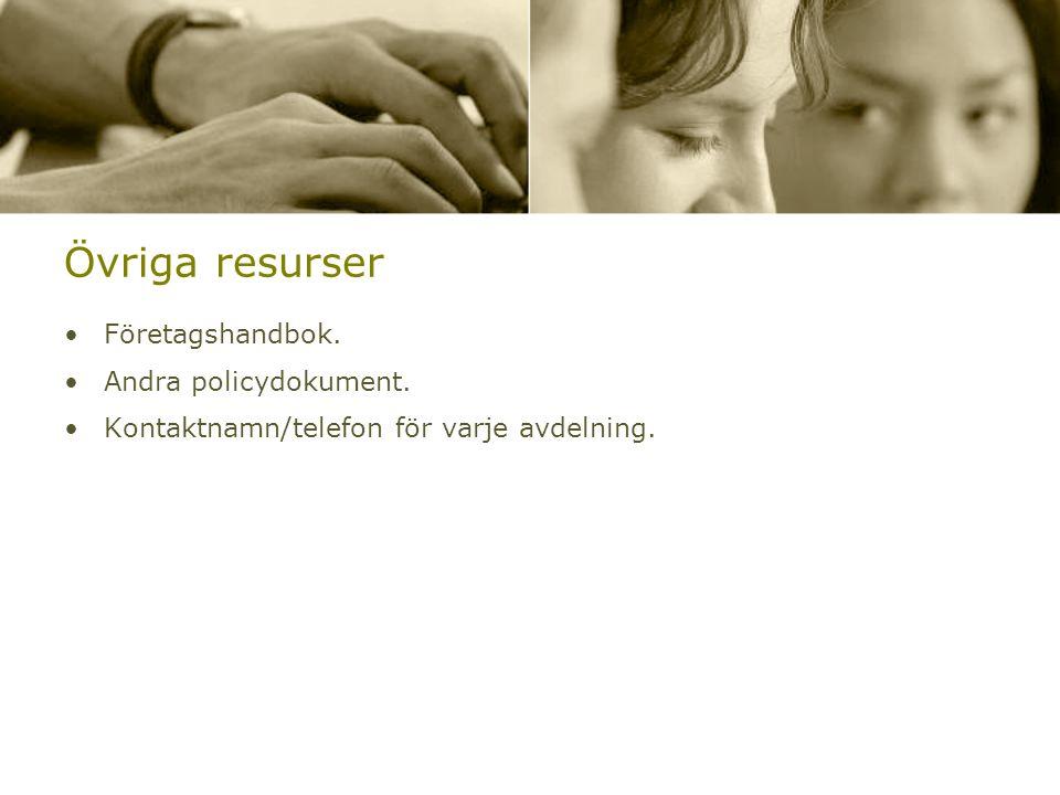 Övriga resurser Företagshandbok. Andra policydokument.