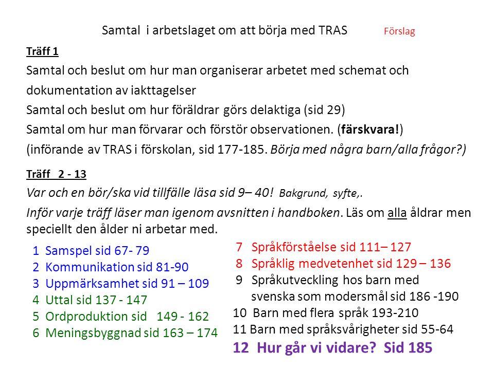 Samtal i arbetslaget om att börja med TRAS Förslag