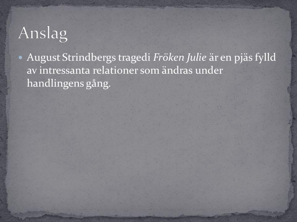 Anslag August Strindbergs tragedi Fröken Julie är en pjäs fylld av intressanta relationer som ändras under handlingens gång.