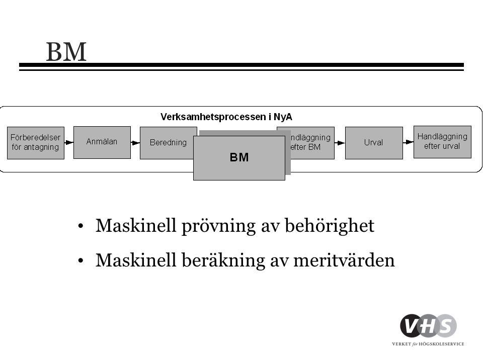 BM Maskinell prövning av behörighet Maskinell beräkning av meritvärden