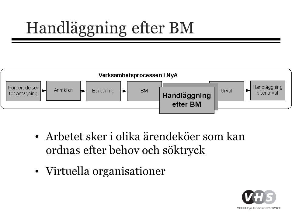 Handläggning efter BM Arbetet sker i olika ärendeköer som kan ordnas efter behov och söktryck. Virtuella organisationer.