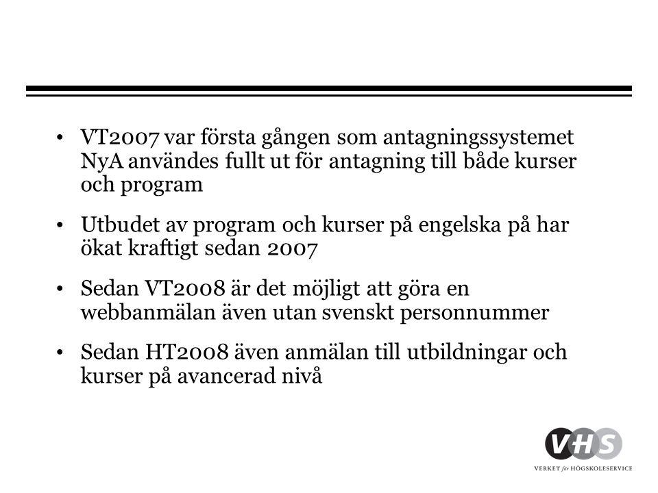 VT2007 var första gången som antagningssystemet NyA användes fullt ut för antagning till både kurser och program