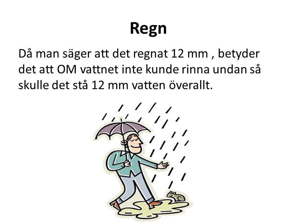 Regn Då man säger att det regnat 12 mm , betyder det att OM vattnet inte kunde rinna undan så skulle det stå 12 mm vatten överallt.