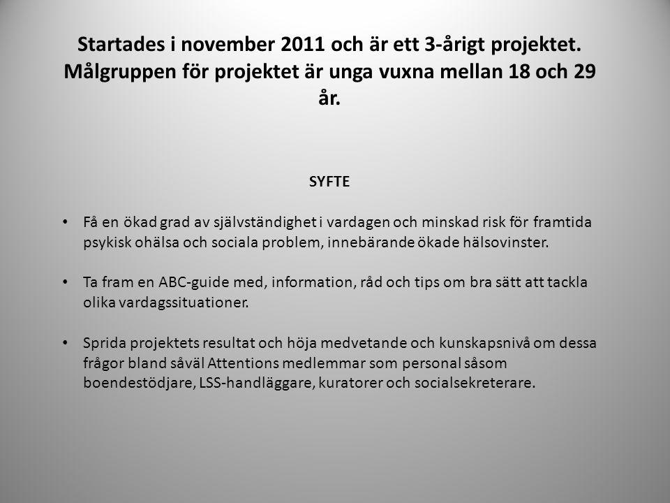 Startades i november 2011 och är ett 3-årigt projektet