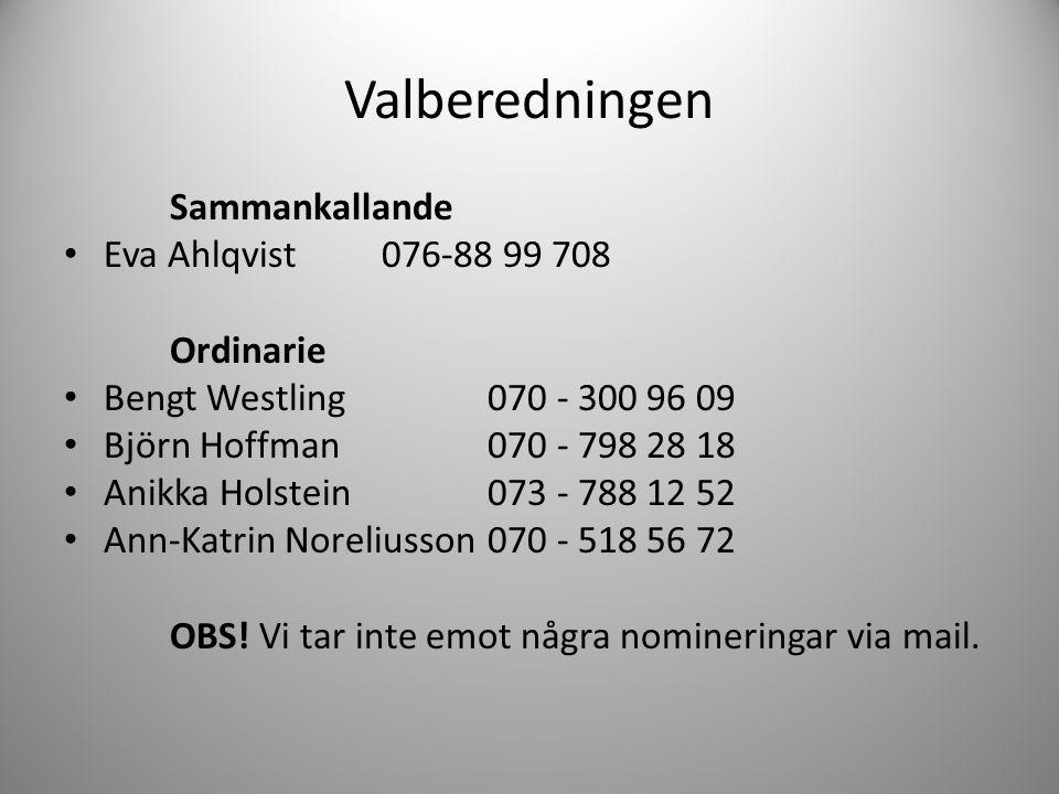 Valberedningen Sammankallande Eva Ahlqvist 076-88 99 708 Ordinarie