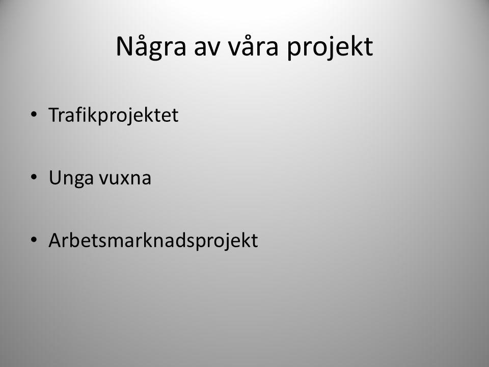 Några av våra projekt Trafikprojektet Unga vuxna Arbetsmarknadsprojekt
