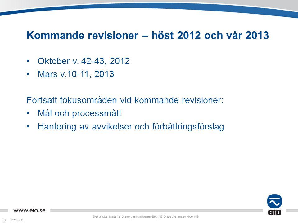 Kommande revisioner – höst 2012 och vår 2013
