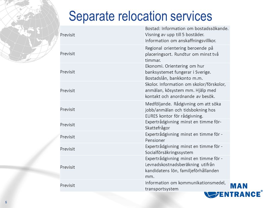 Separate relocation services