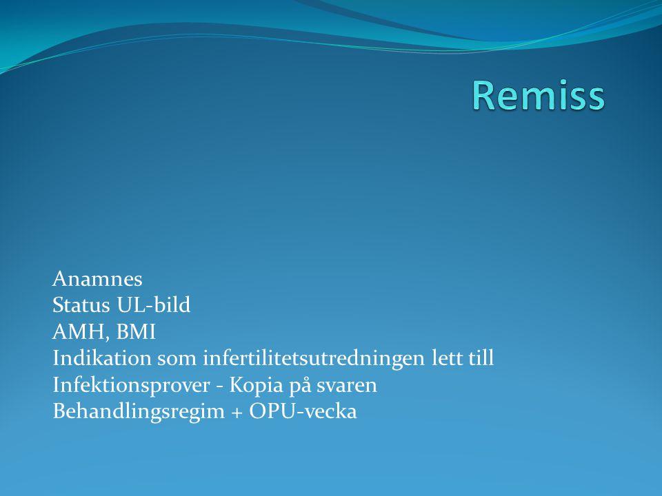 Remiss Anamnes Status UL-bild AMH, BMI