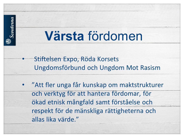 Värsta fördomen Stiftelsen Expo, Röda Korsets Ungdomsförbund och Ungdom Mot Rasism.