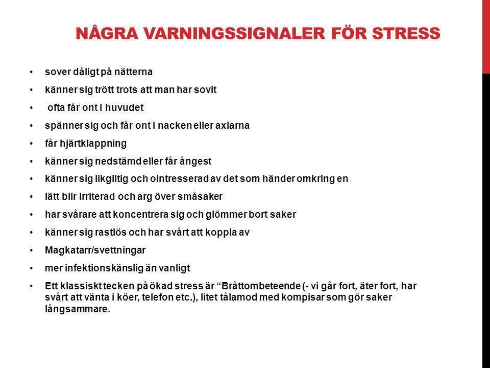Några Varningssignaler för stress