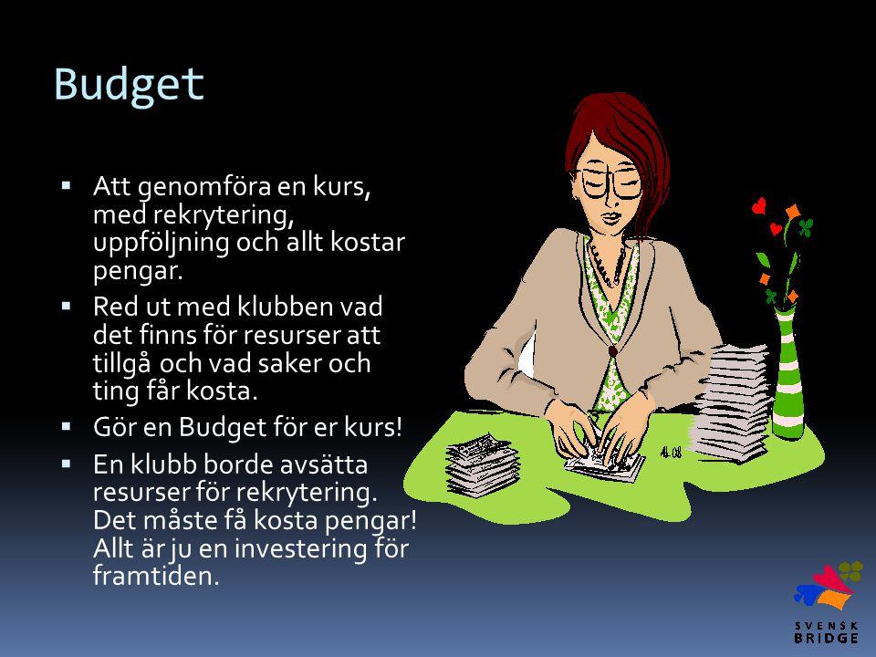 Budget Att genomföra en kurs, med rekrytering, uppföljning och allt kostar pengar.