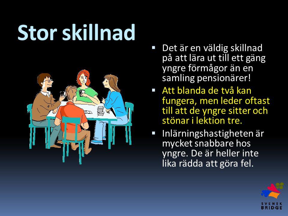 Stor skillnad Det är en väldig skillnad på att lära ut till ett gäng yngre förmågor än en samling pensionärer!