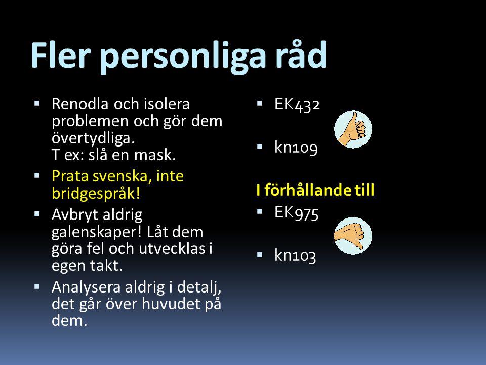 Fler personliga råd Renodla och isolera problemen och gör dem övertydliga. T ex: slå en mask. Prata svenska, inte bridgespråk!