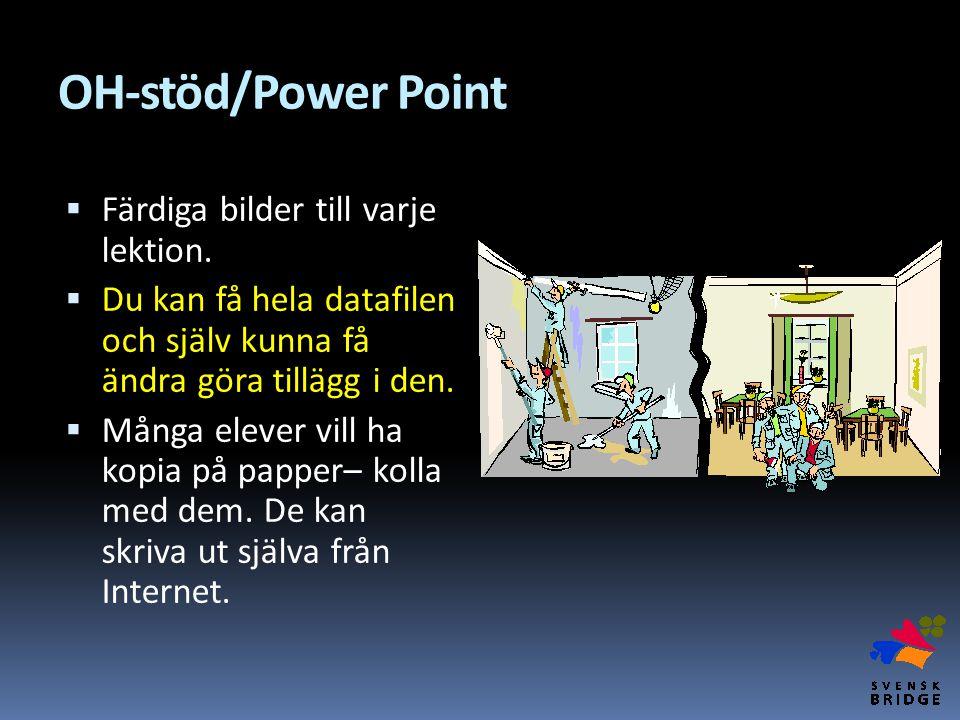 OH-stöd/Power Point Färdiga bilder till varje lektion.