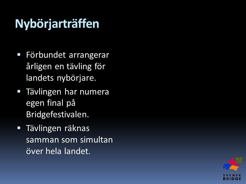 Nybörjarträffen Förbundet arrangerar årligen en tävling för landets nybörjare. Tävlingen har numera egen final på Bridgefestivalen.