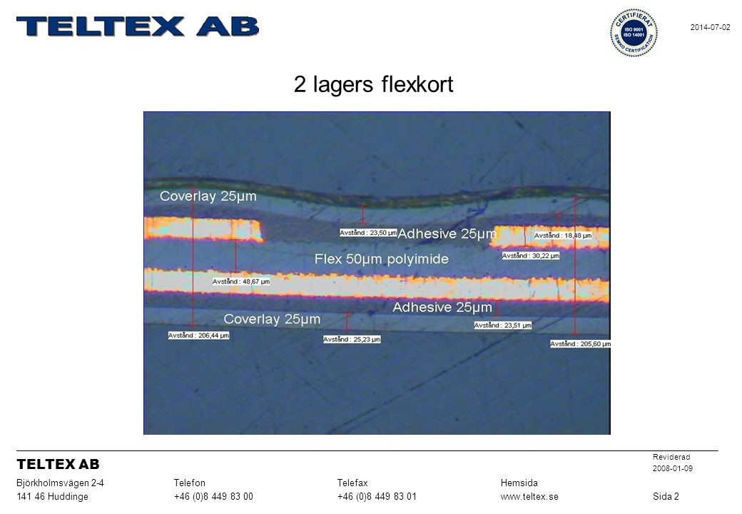 2 lagers flexkort TELTEX AB Sida 2 www.teltex.se +46 (0)8 449 83 01