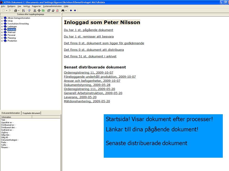 Startsida! Visar dokument efter processer!