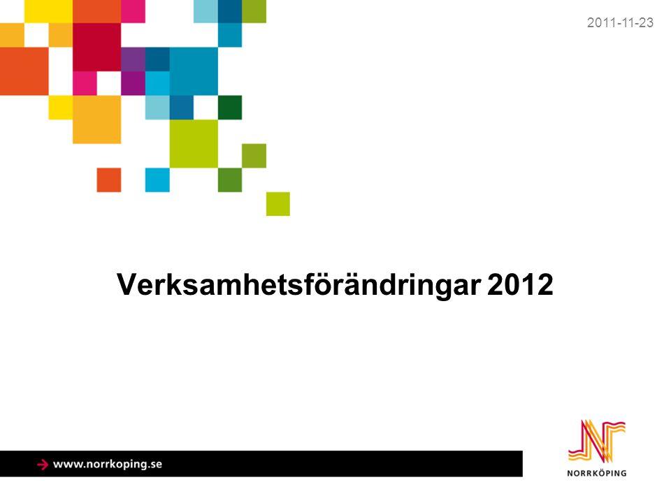 Verksamhetsförändringar 2012