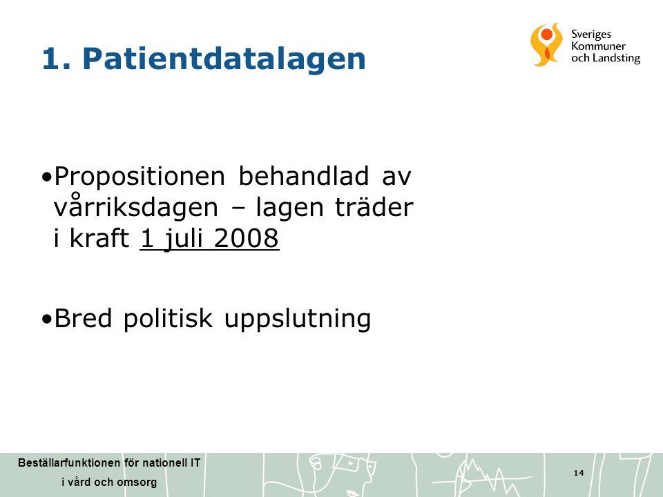 1. Patientdatalagen Propositionen behandlad av vårriksdagen – lagen träder i kraft 1 juli 2008.