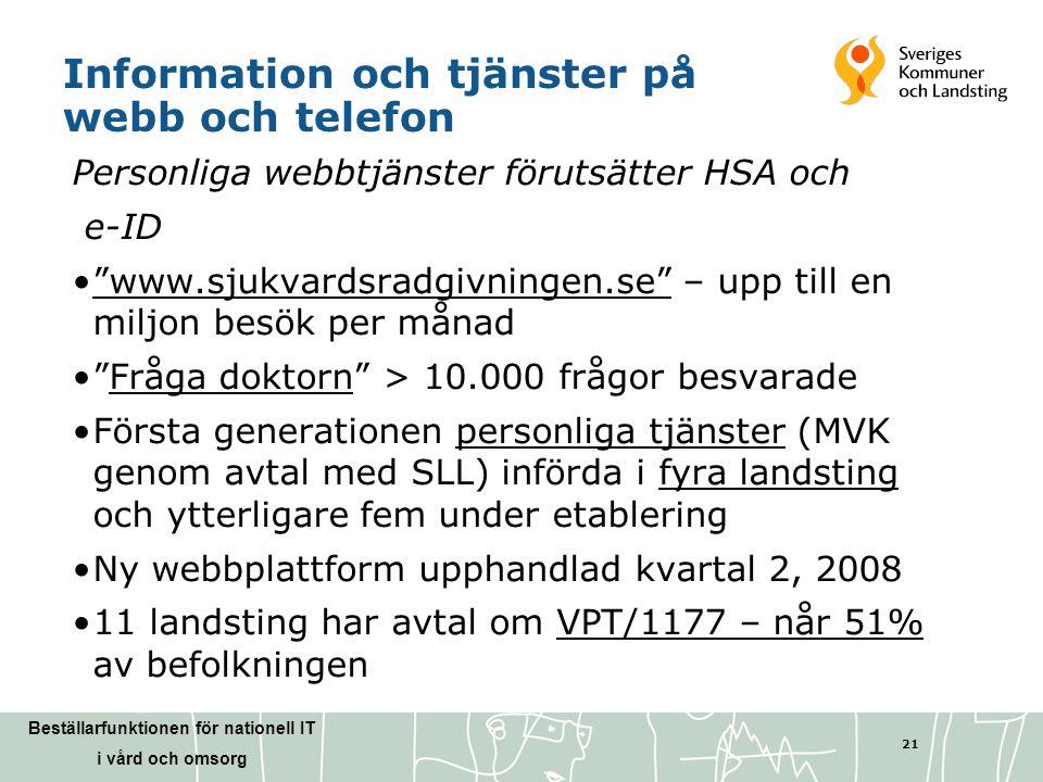 Information och tjänster på webb och telefon
