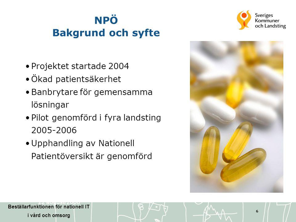 NPÖ Bakgrund och syfte Projektet startade 2004 Ökad patientsäkerhet