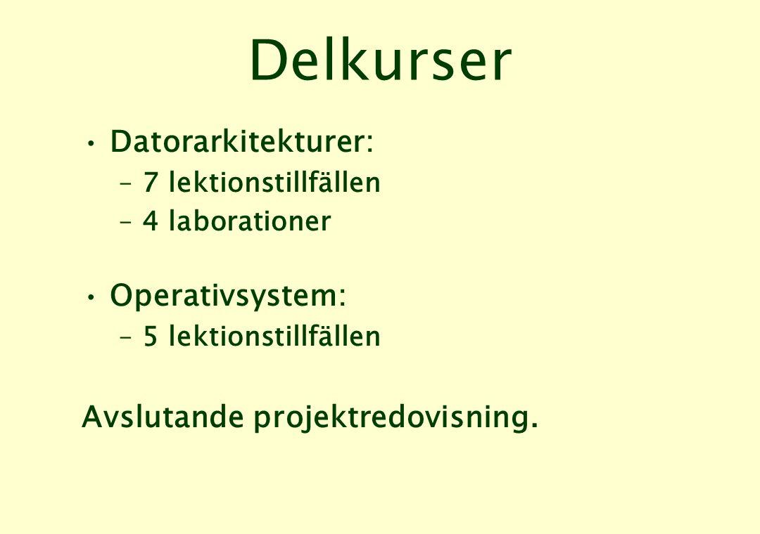 Delkurser Datorarkitekturer: Operativsystem:
