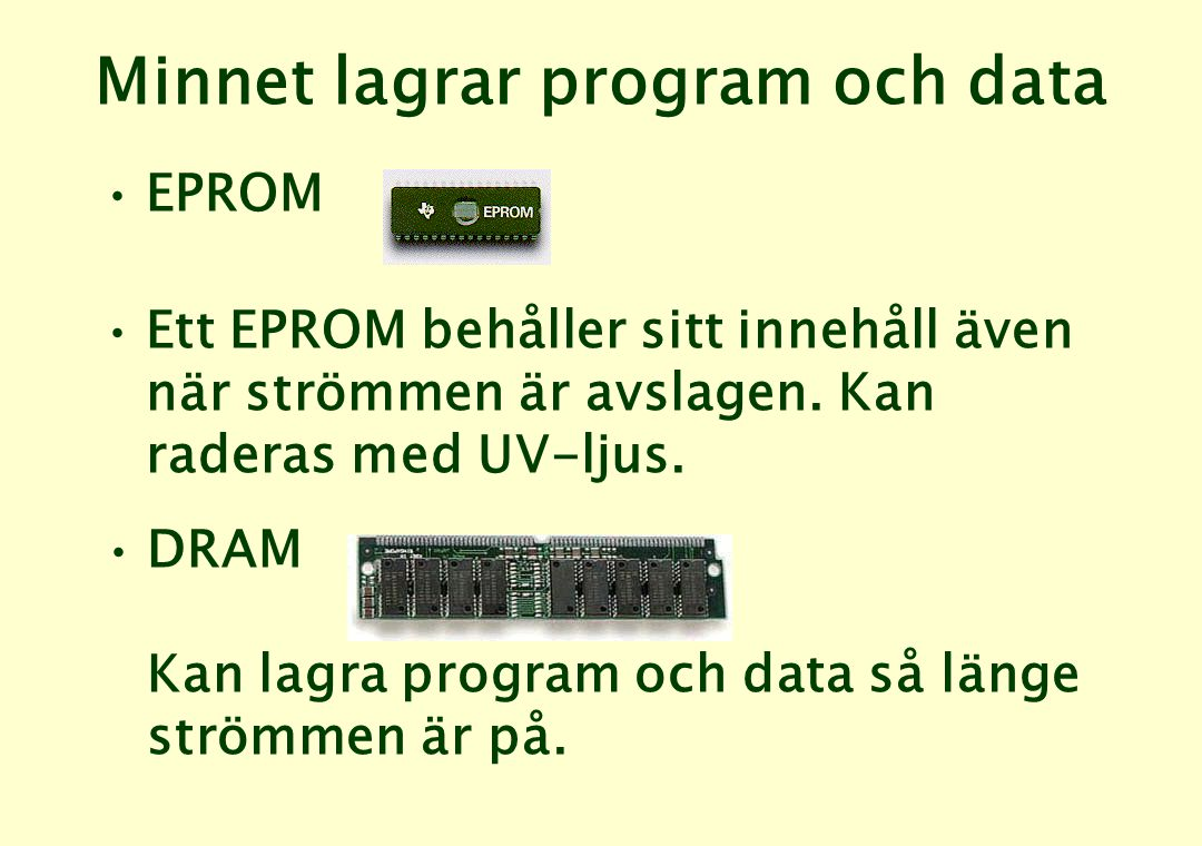Minnet lagrar program och data