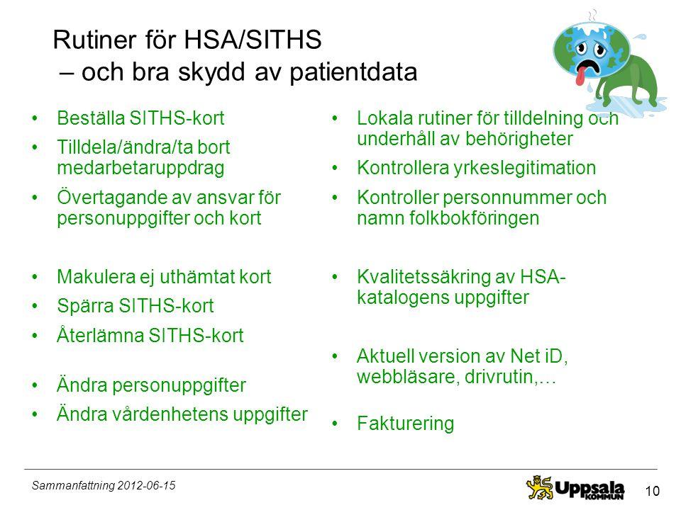 Rutiner för HSA/SITHS – och bra skydd av patientdata