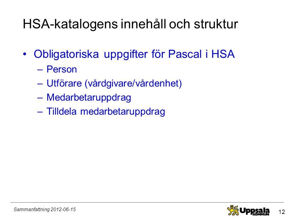 HSA-katalogens innehåll och struktur