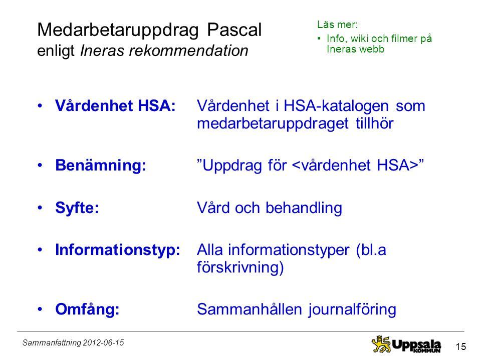 Medarbetaruppdrag Pascal enligt Ineras rekommendation