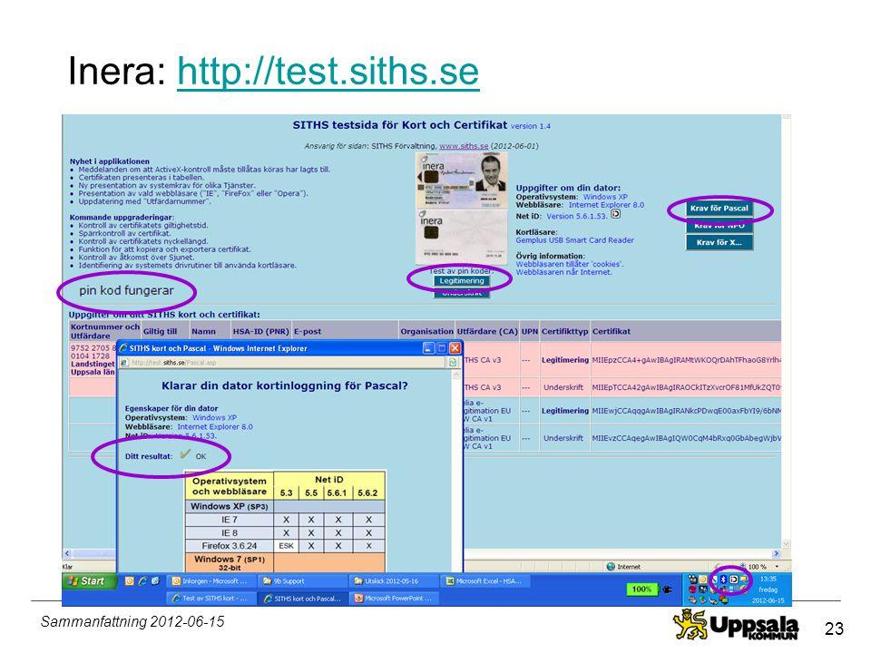 Inera: http://test.siths.se