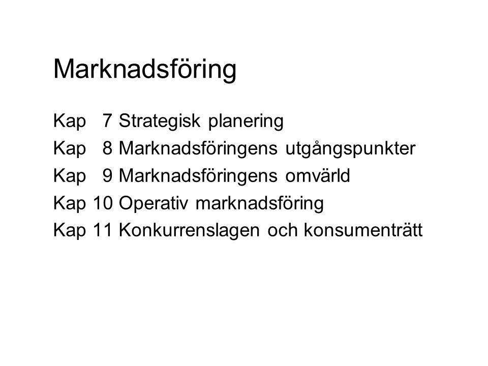 Marknadsföring Kap 7 Strategisk planering