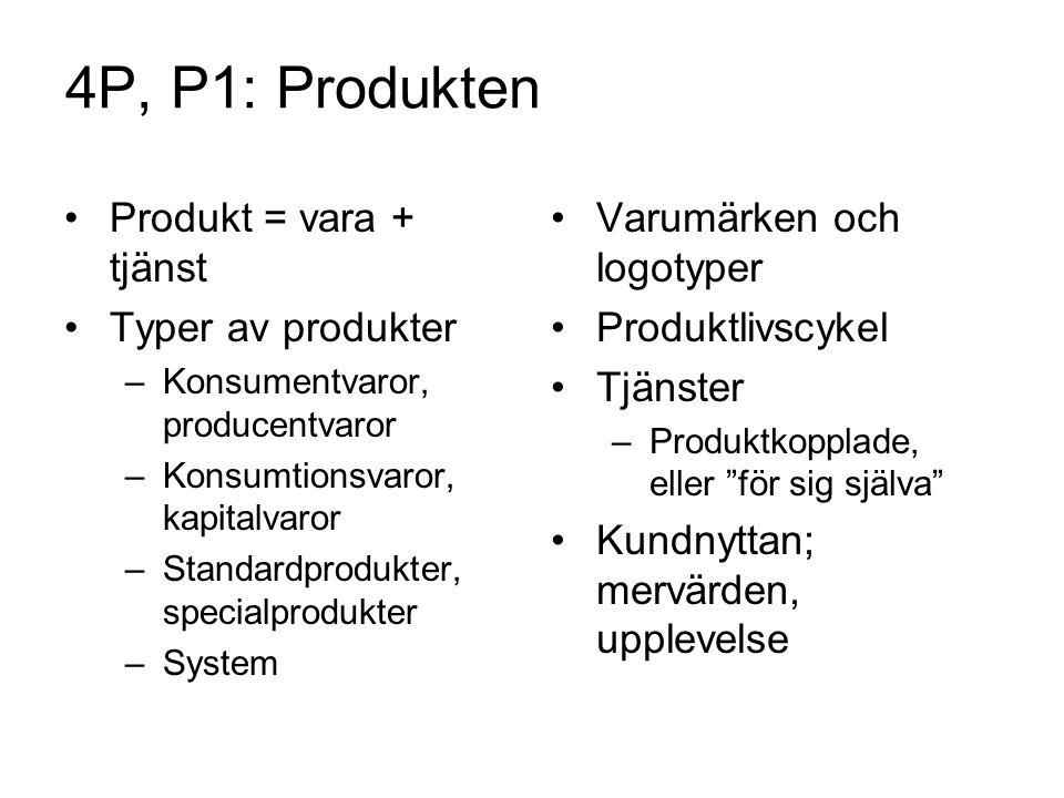 4P, P1: Produkten Produkt = vara + tjänst Typer av produkter