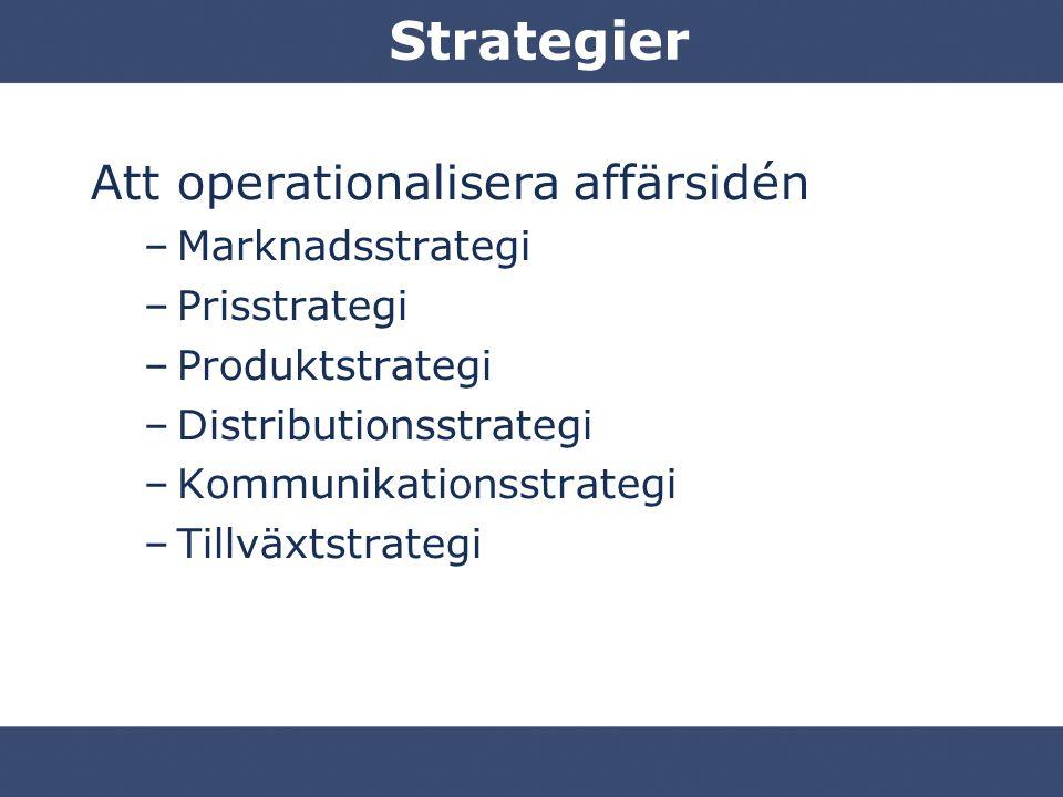 Strategier Att operationalisera affärsidén Marknadsstrategi
