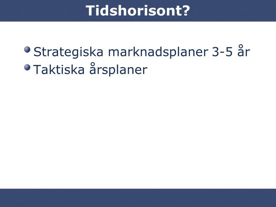 Tidshorisont Strategiska marknadsplaner 3-5 år Taktiska årsplaner