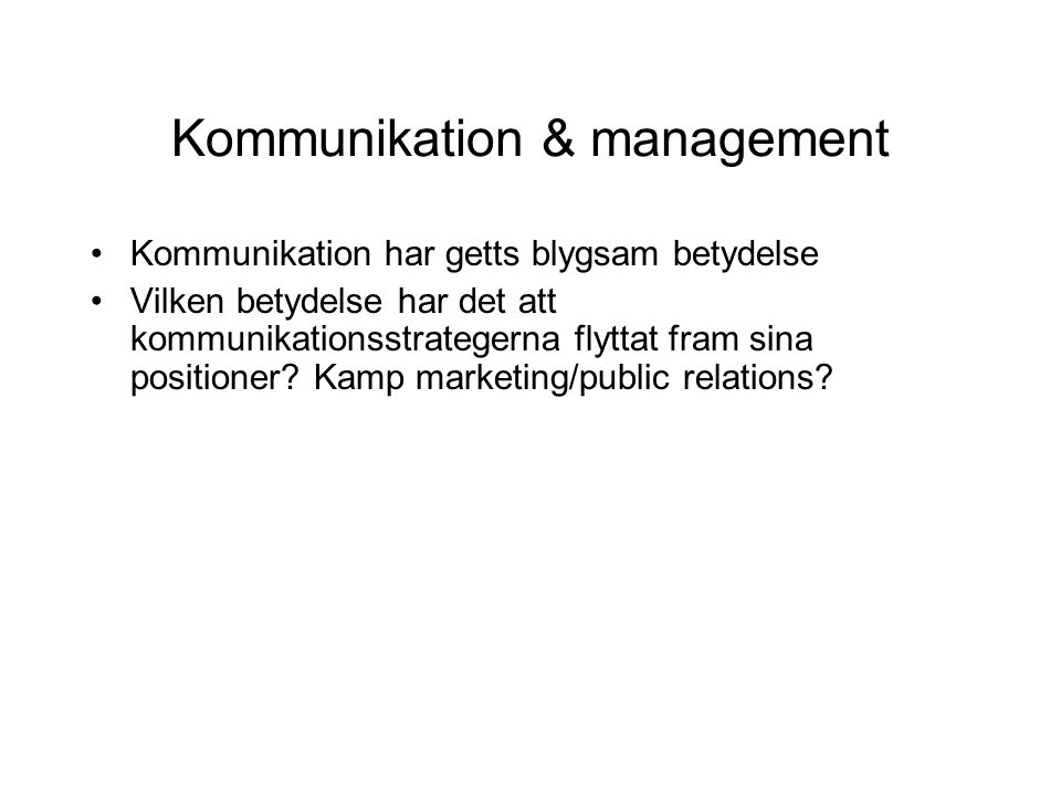 Kommunikation & management