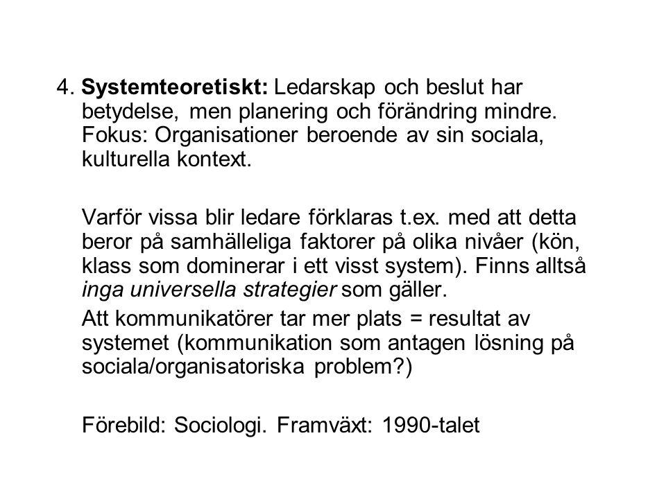 4. Systemteoretiskt: Ledarskap och beslut har betydelse, men planering och förändring mindre. Fokus: Organisationer beroende av sin sociala, kulturella kontext.