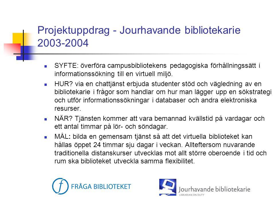 Projektuppdrag - Jourhavande bibliotekarie 2003-2004