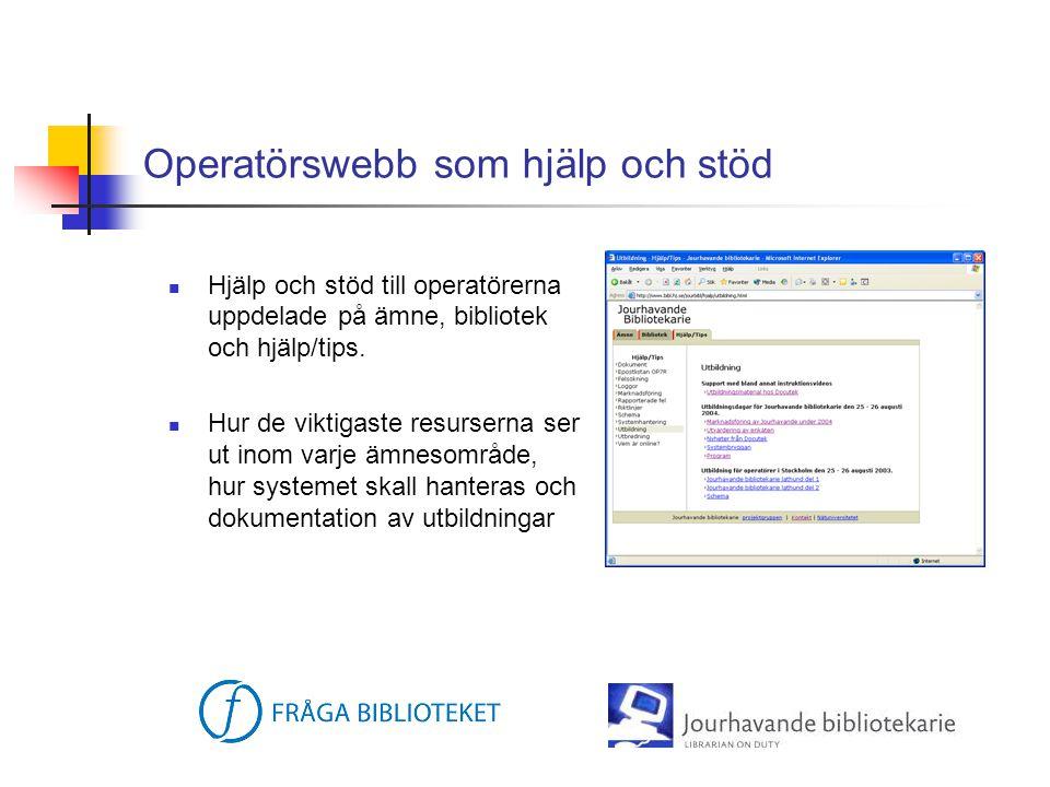 Operatörswebb som hjälp och stöd