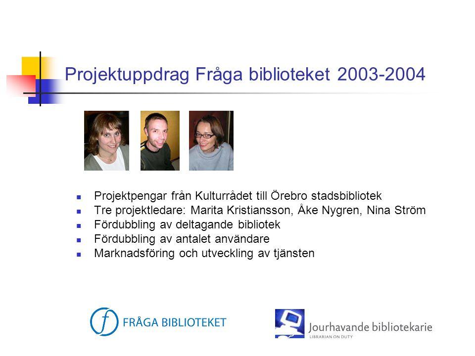 Projektuppdrag Fråga biblioteket 2003-2004