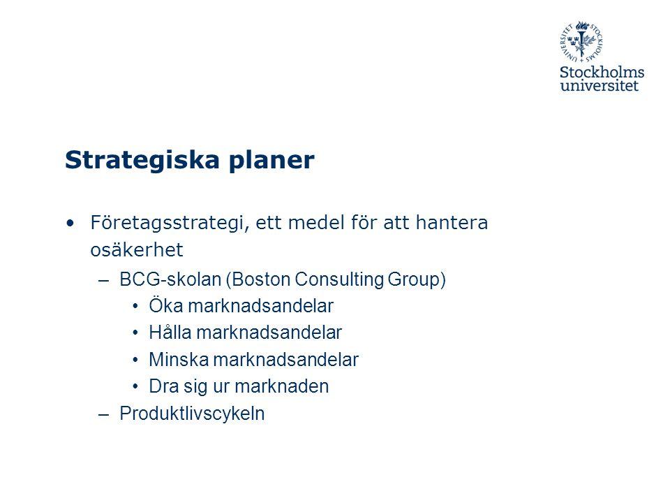 Strategiska planer Företagsstrategi, ett medel för att hantera osäkerhet. BCG-skolan (Boston Consulting Group)