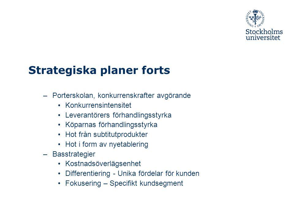 Strategiska planer forts