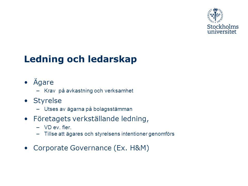 Ledning och ledarskap Ägare Styrelse Företagets verkställande ledning,